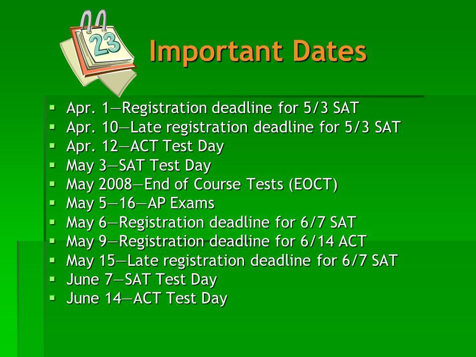 Important Dates  Apr. 1—Registration deadline for 5/3 SAT  Apr.