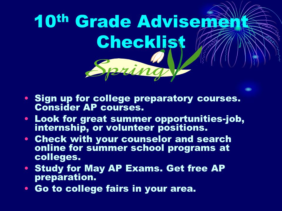 10 th Grade Advisement Checklist Start a summer reading list.