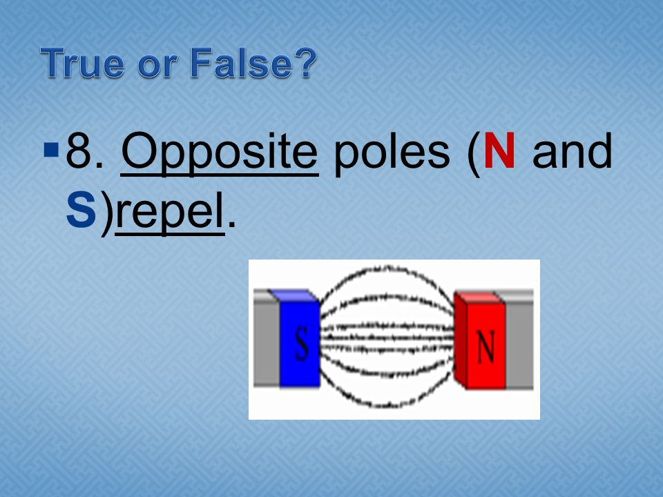  8. Opposite poles (N and S)repel.