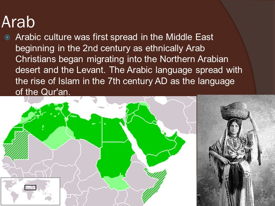 Arab  Arabic culture was first spread in the Middle East beginning in the 2nd century as ethnically Arab Christians began migrating into the Northern