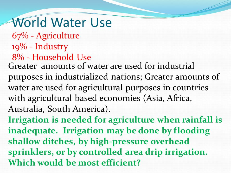 World Water Use 67% - Agriculture 19% - Industry 8% - Household Use Greater amounts of water are used for industrial purposes in industrialized nation