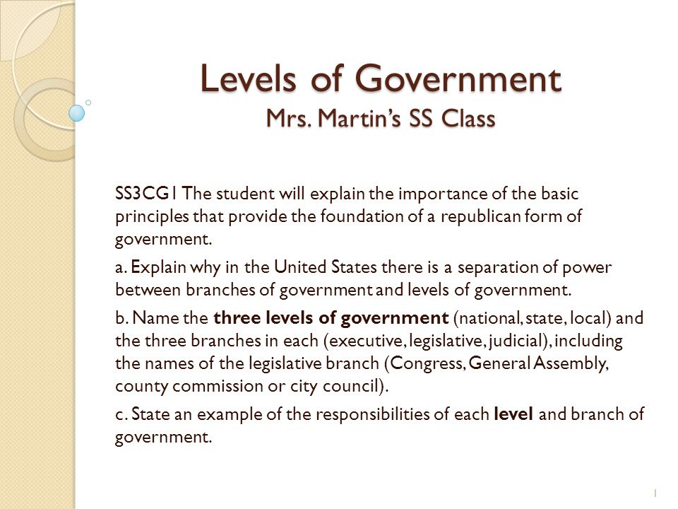 Levels of Government Mrs. Martin's SS Class SS3CG1 The student will explain the importance of the basic principles that provide the foundation of a re