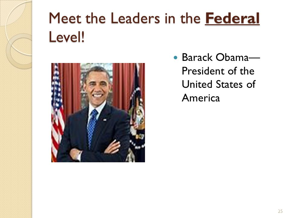Meet the Leaders in the Federal Level! Barack Obama— President of the United States of America 25