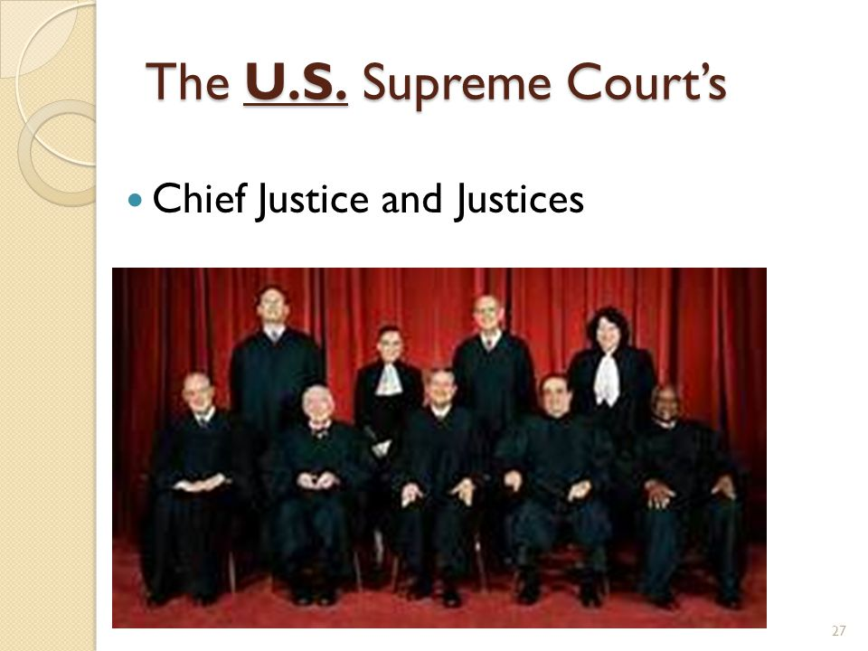 The U.S. Supreme Court's 27 Chief Justice and Justices