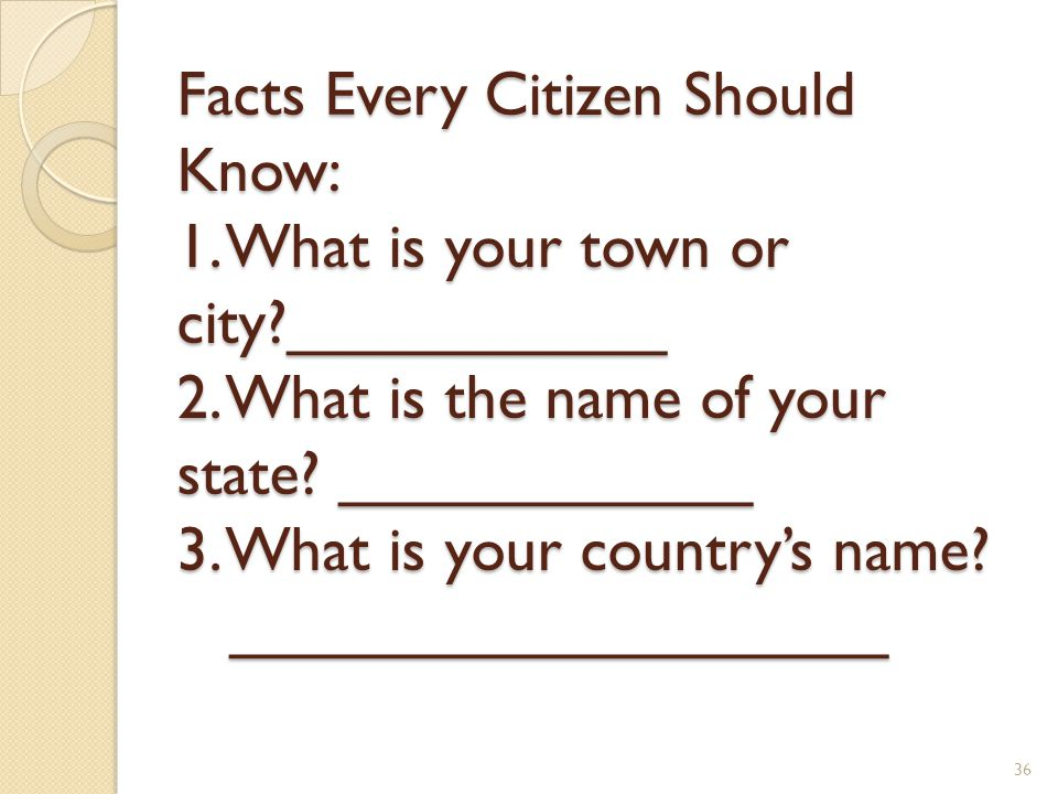 Facts Every Citizen Should Know: 1. What is your town or city?___________ 2. What is the name of your state? ____________ 3. What is your country's na