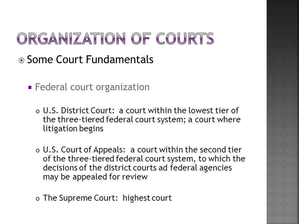  Some Court Fundamentals  Federal court organization U.S. District Court: a court within the lowest tier of the three-tiered federal court system; a