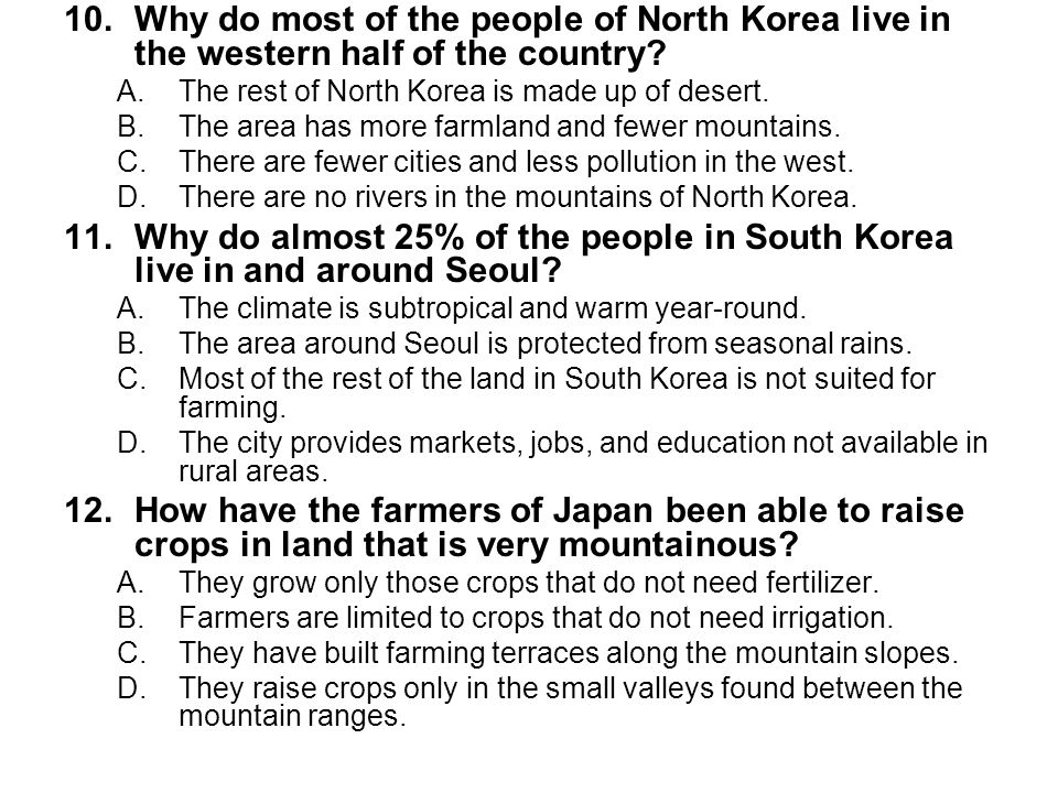 13.How do the Japanese feed their people with so little good farmland.