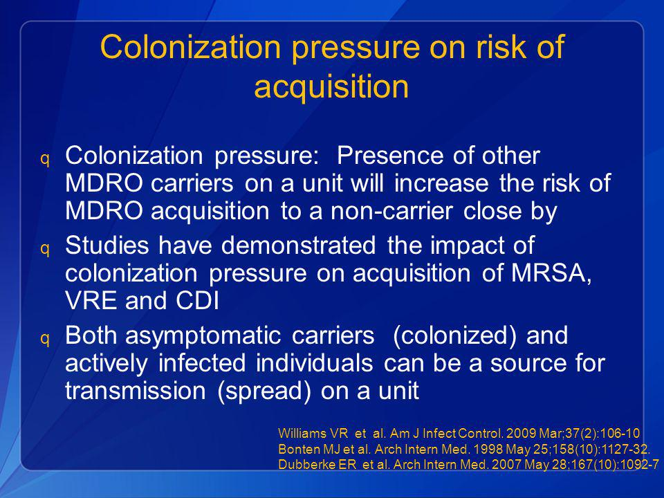 Colonization pressure on risk of acquisition q Colonization pressure: Presence of other MDRO carriers on a unit will increase the risk of MDRO acquisi
