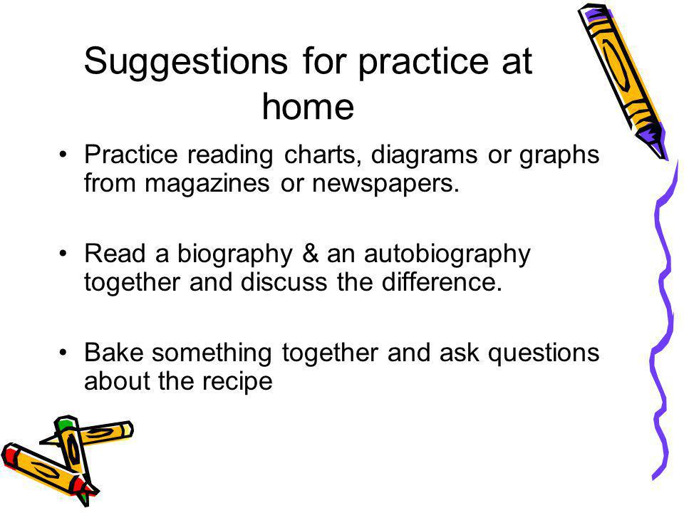 Suggestions for practice at home Practice reading charts, diagrams or graphs from magazines or newspapers.