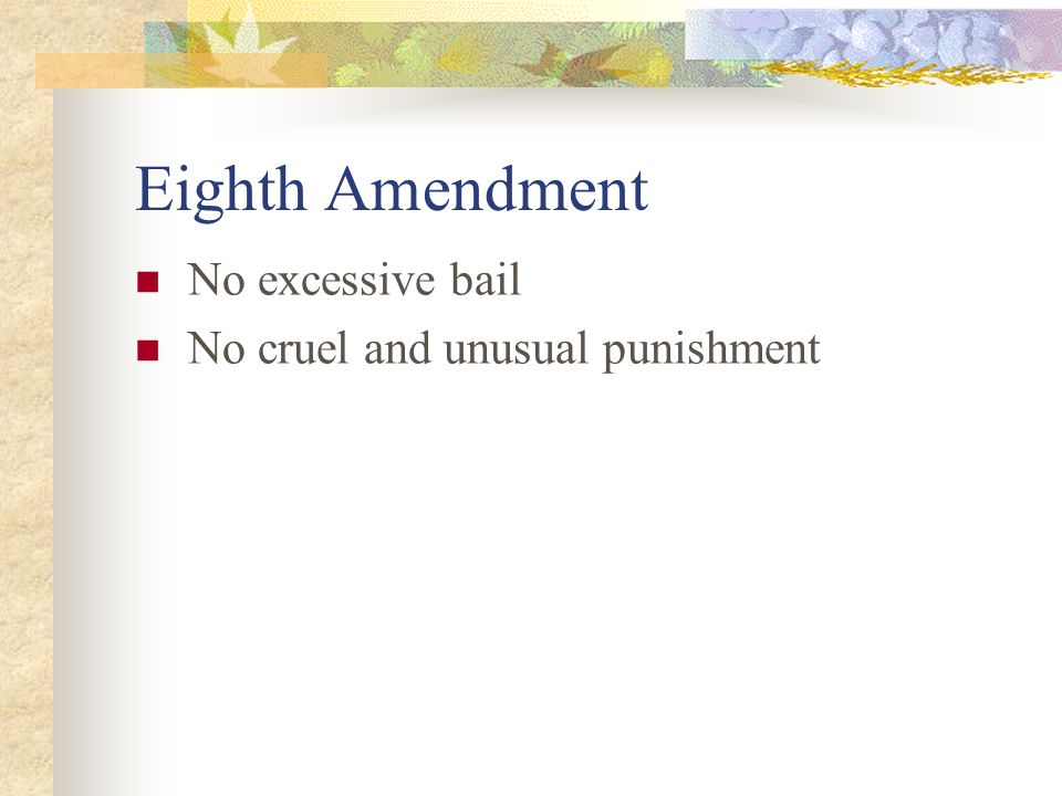 Eighth Amendment No excessive bail No cruel and unusual punishment