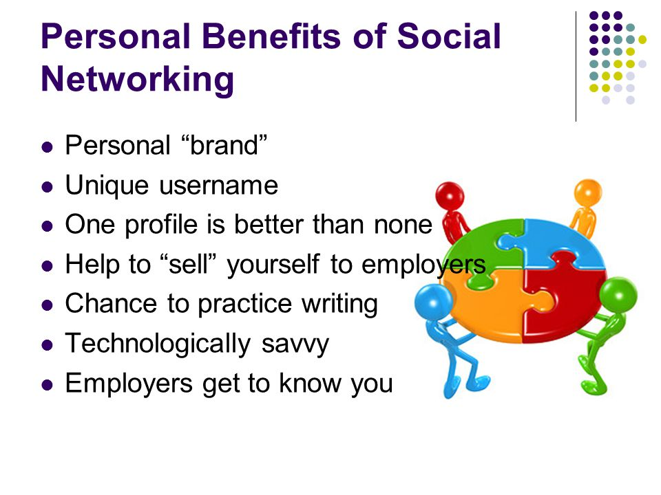 Personal Benefits of Social Networking Personal brand Unique username One profile is better than none Help to sell yourself to employers Chance to practice writing Technologically savvy Employers get to know you