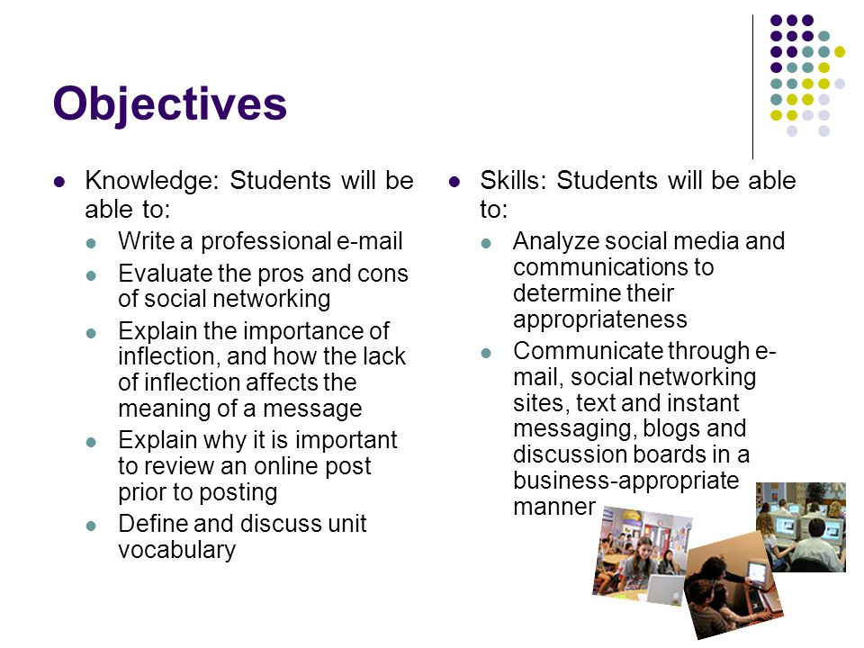 Objectives Knowledge: Students will be able to: Write a professional e-mail Evaluate the pros and cons of social networking Explain the importance of