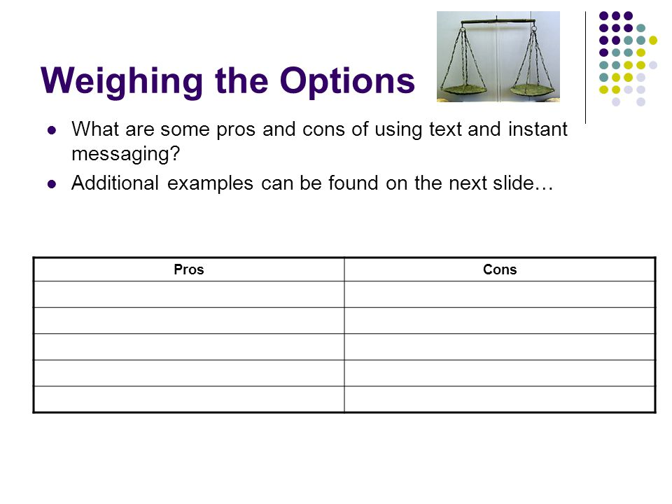 Weighing the Options What are some pros and cons of using text and instant messaging? Additional examples can be found on the next slide… ProsCons
