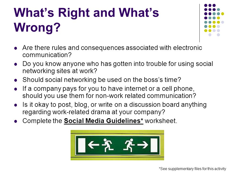 What's Right and What's Wrong? Are there rules and consequences associated with electronic communication? Do you know anyone who has gotten into troub