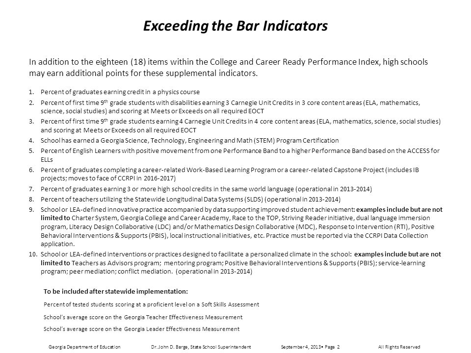 2013 College and Career Ready Performance Index, Middle School, Grades 6 - 8 Dr.