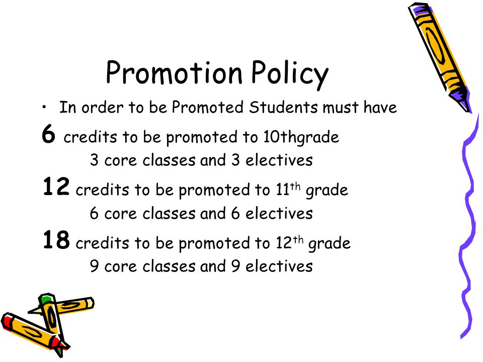 Promotion Policy In order to be Promoted Students must have 6 credits to be promoted to 10thgrade 3 core classes and 3 electives 12 credits to be prom