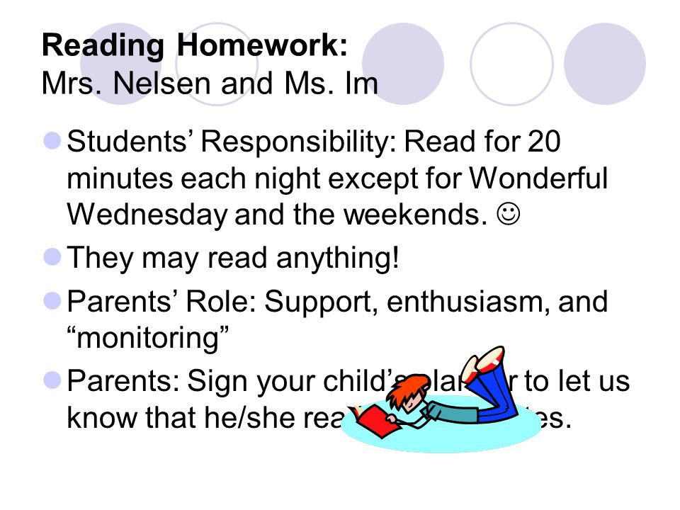 Reading Homework: Mrs. Nelsen and Ms.