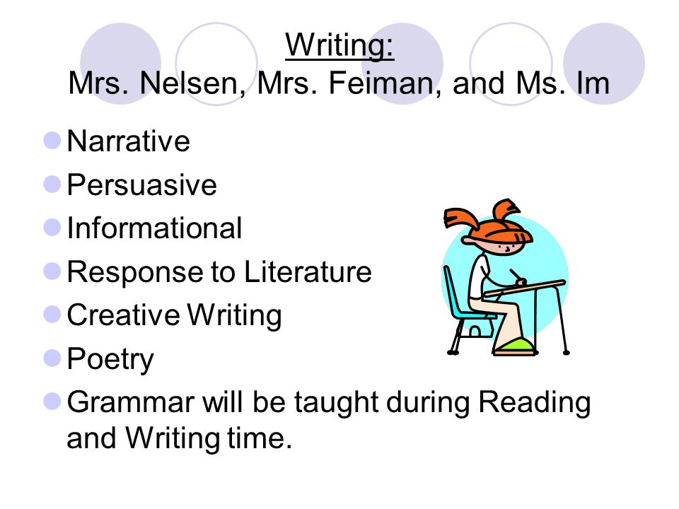 Writing: Mrs. Nelsen, Mrs. Feiman, and Ms.