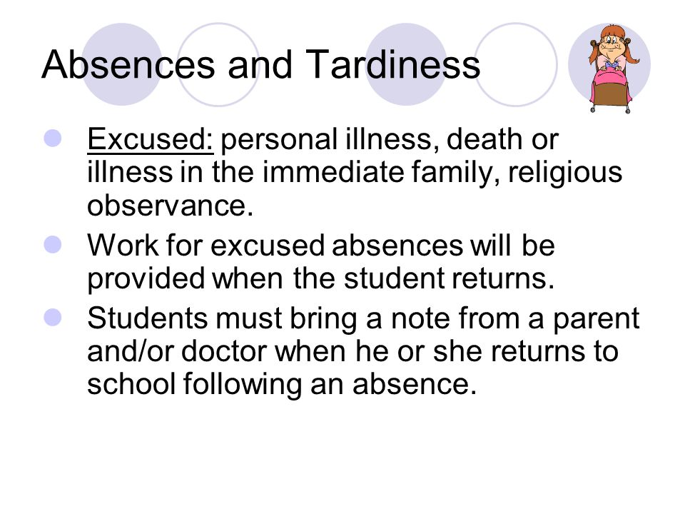 Absences and Tardiness Excused: personal illness, death or illness in the immediate family, religious observance.