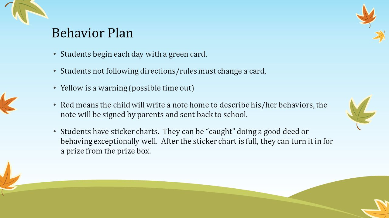 Behavior Plan Students begin each day with a green card.