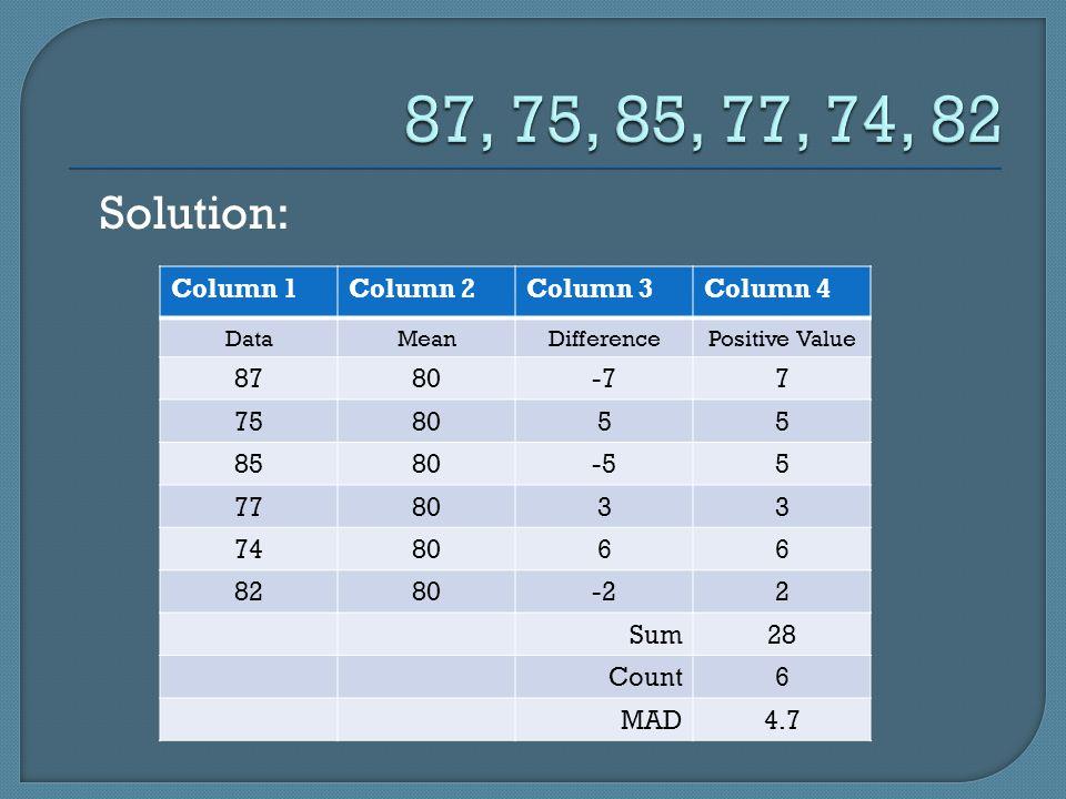 Solution: Column 1Column 2Column 3Column 4 DataMeanDifferencePositive Value 8780-77 758055 8580-55 778033 748066 8280-22 Sum28 Count6 MAD4.7