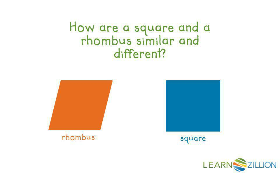 How are a square and a rhombus similar and different? square rhombus