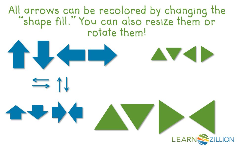 All arrows can be recolored by changing the shape fill. You can also resize them or rotate them!