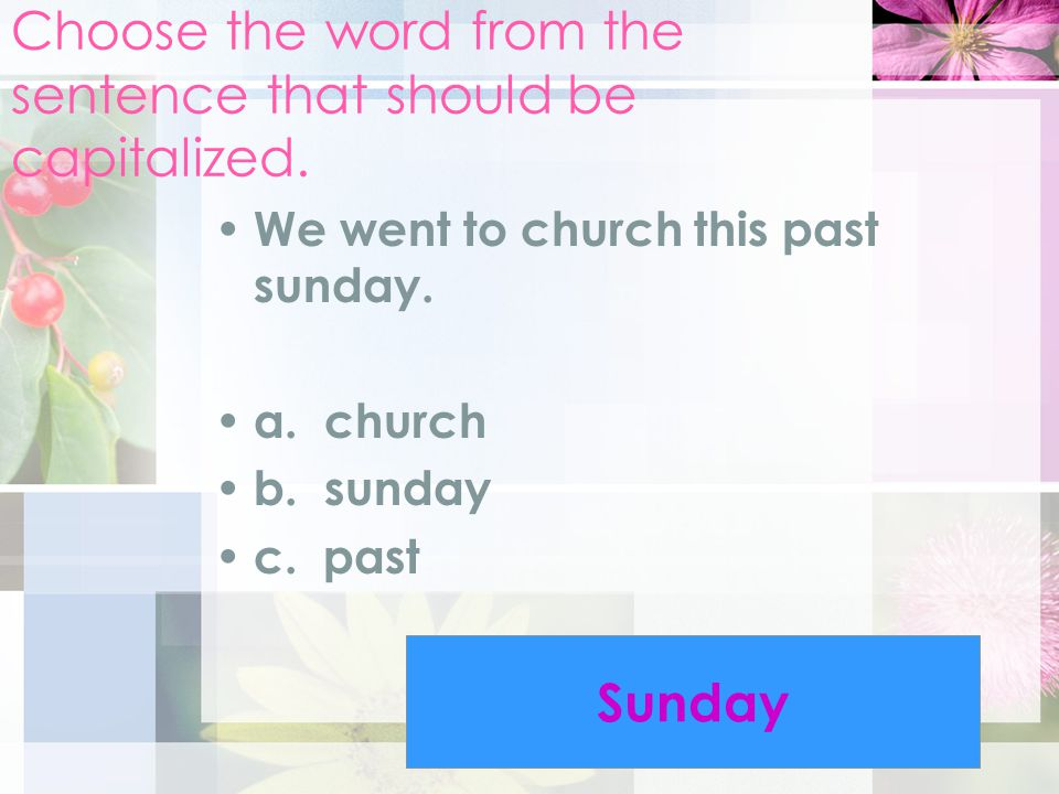 Choose the word from the sentence that should be capitalized.