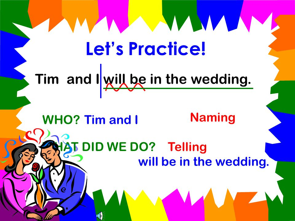Let's Practice! Jon and Sue are getting married. WHO?Jon and Sue WHAT WILL THEY DO? are getting married. Naming Telling