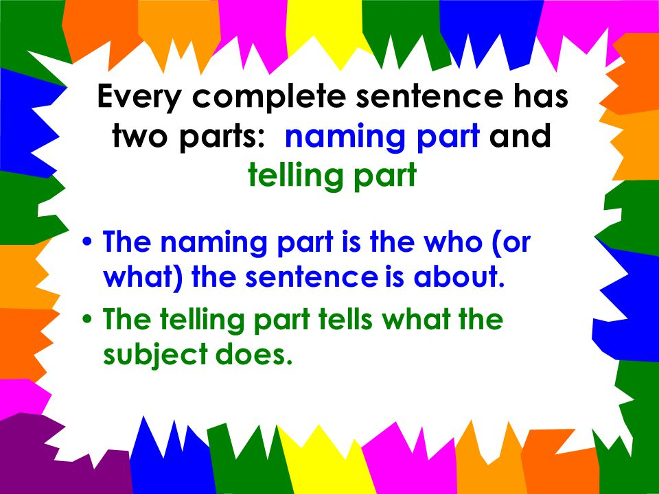 Every complete sentence has two parts: naming part and telling part The naming part is the who (or what) the sentence is about.