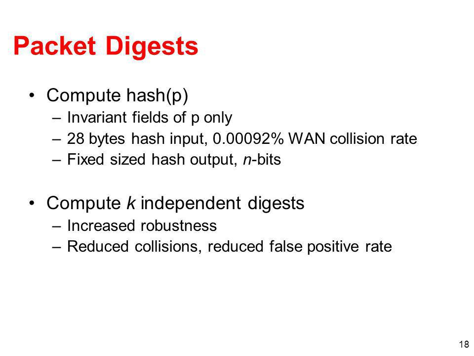 18 Packet Digests Compute hash(p) –Invariant fields of p only –28 bytes hash input, 0.00092% WAN collision rate –Fixed sized hash output, n-bits Compu