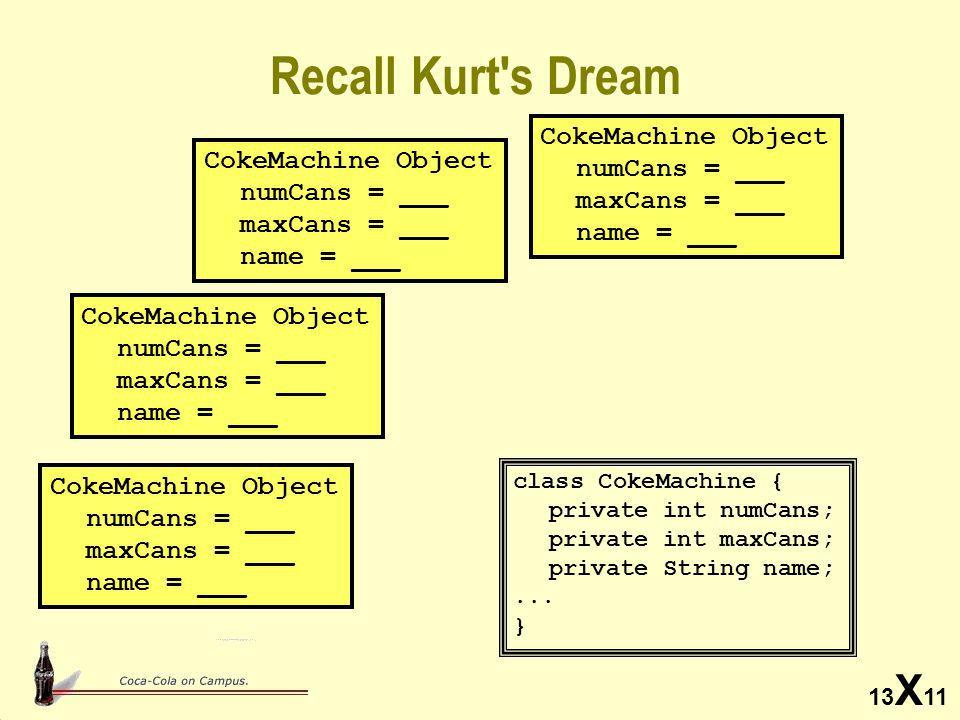 13 X 11 Recall Kurt s Dream class CokeMachine { private int numCans; private int maxCans; private String name;...