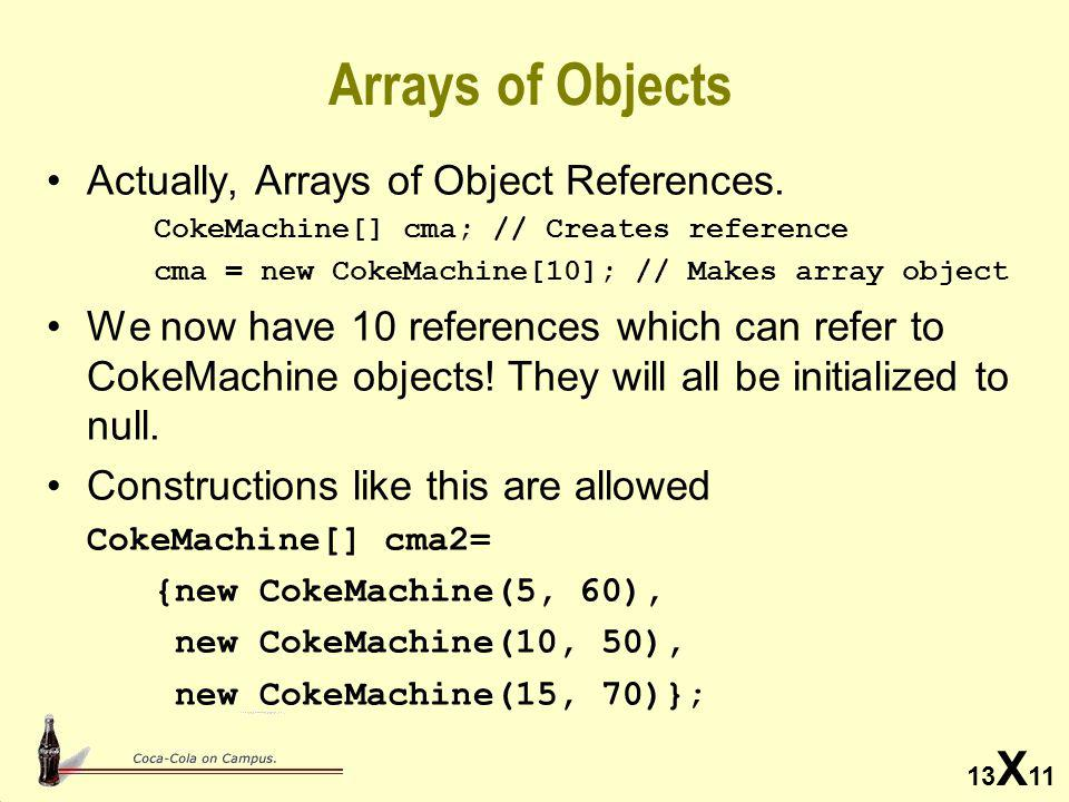 13 X 11 Arrays of Objects Actually, Arrays of Object References.
