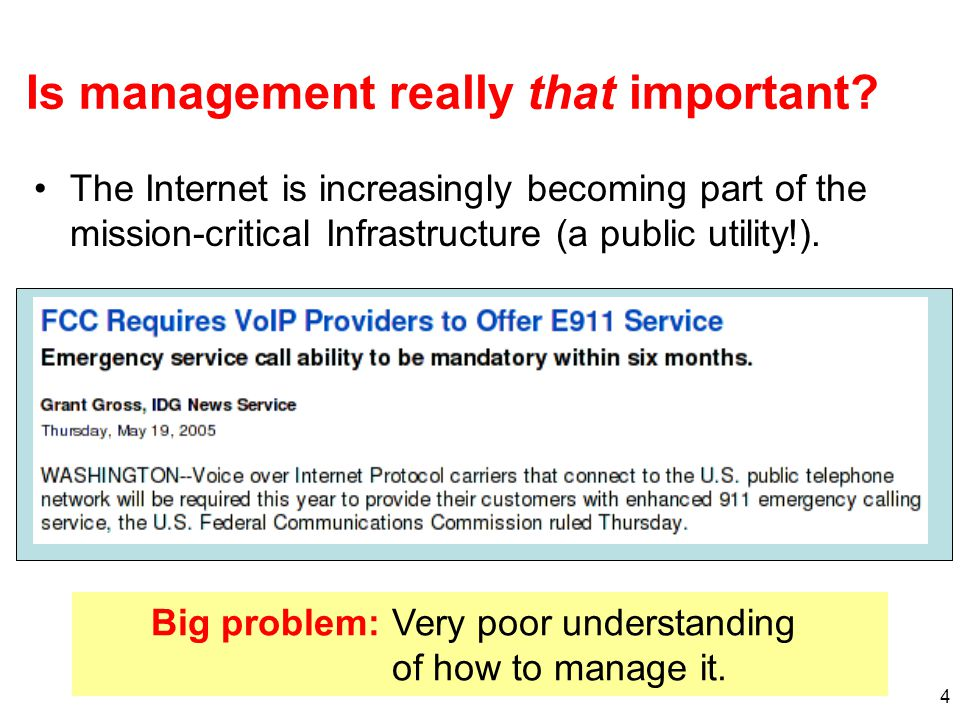 15 Overcoming Problems Convince customers that measurement is worth additional cost by targeting their problems Companies are motivated to make network management more efficient (i.e., reduce headcount) Portal service (high level information on the network's traffic) is already available to customers –This has been done primarily for security services –Aggregate summaries of passive, netflow-based measures