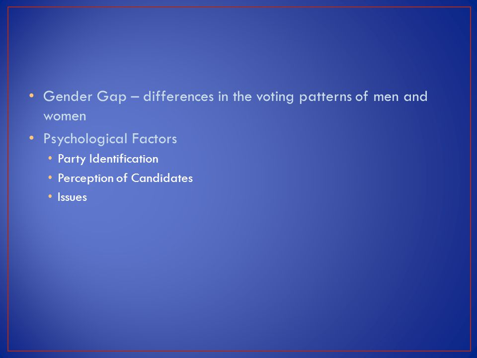 Gender Gap – differences in the voting patterns of men and women Psychological Factors Party Identification Perception of Candidates Issues
