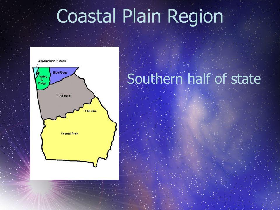 Coastal Plain Region Southern half of state