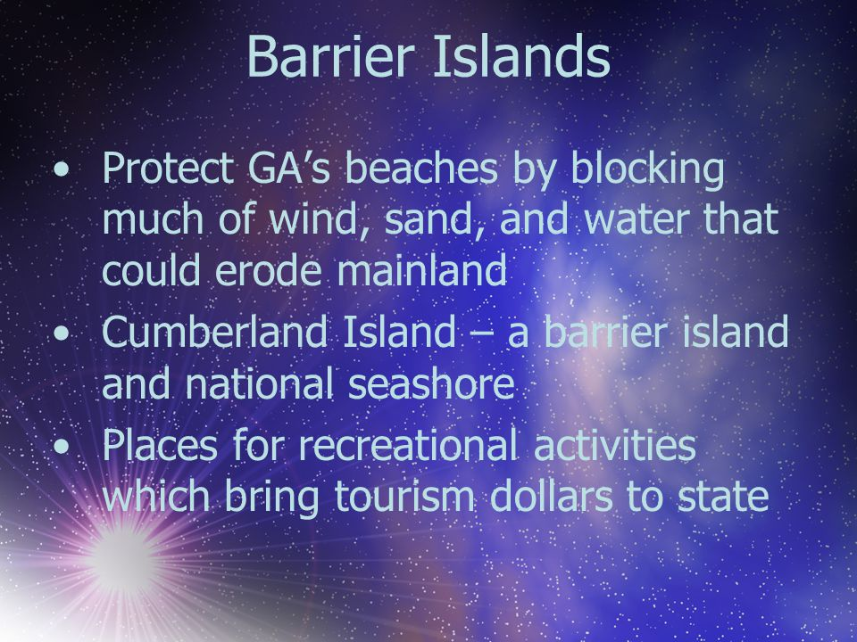 Barrier Islands Protect GA's beaches by blocking much of wind, sand, and water that could erode mainland Cumberland Island – a barrier island and nati