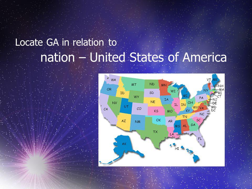 Locate GA in relation to continent – North America