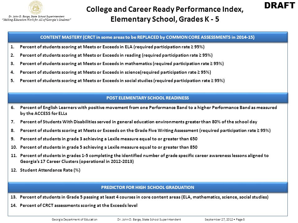 Exceeding the Bar: a companion to the College and Career Ready Performance Index for Elementary Schools In addition to the fourteen (14) items within the College and Career Ready Performance Index, elementary schools may earn additional points for these supplemental indicators.