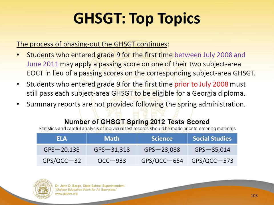 GHSGT: Top Topics The process of phasing-out the GHSGT continues: Students who entered grade 9 for the first time between July 2008 and June 2011 may apply a passing score on one of their two subject-area EOCT in lieu of a passing scores on the corresponding subject-area GHSGT.