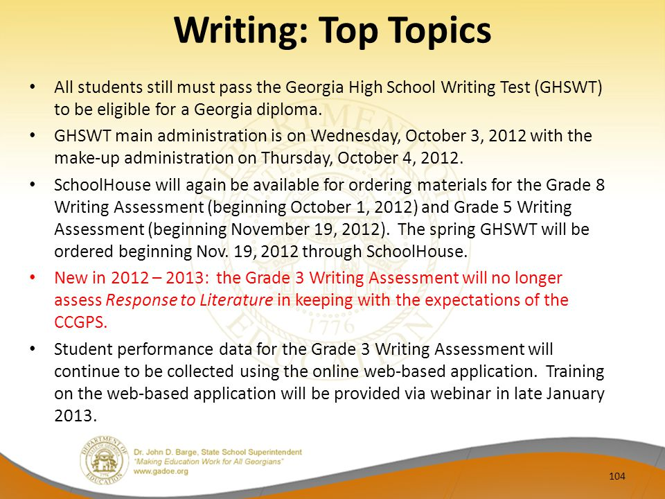 Writing: Top Topics All students still must pass the Georgia High School Writing Test (GHSWT) to be eligible for a Georgia diploma.