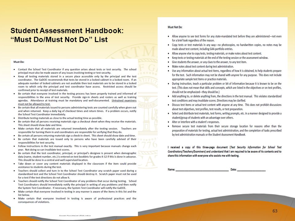 63 Student Assessment Handbook: Must Do/Must Not Do List