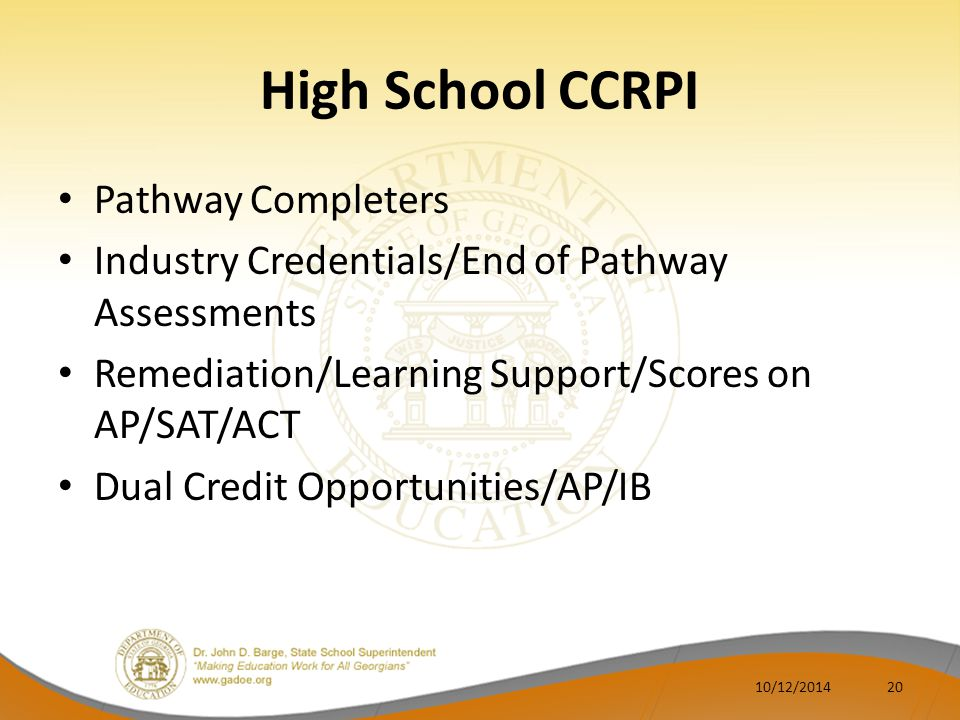 High School CCRPI Pathway Completers Industry Credentials/End of Pathway Assessments Remediation/Learning Support/Scores on AP/SAT/ACT Dual Credit Opp