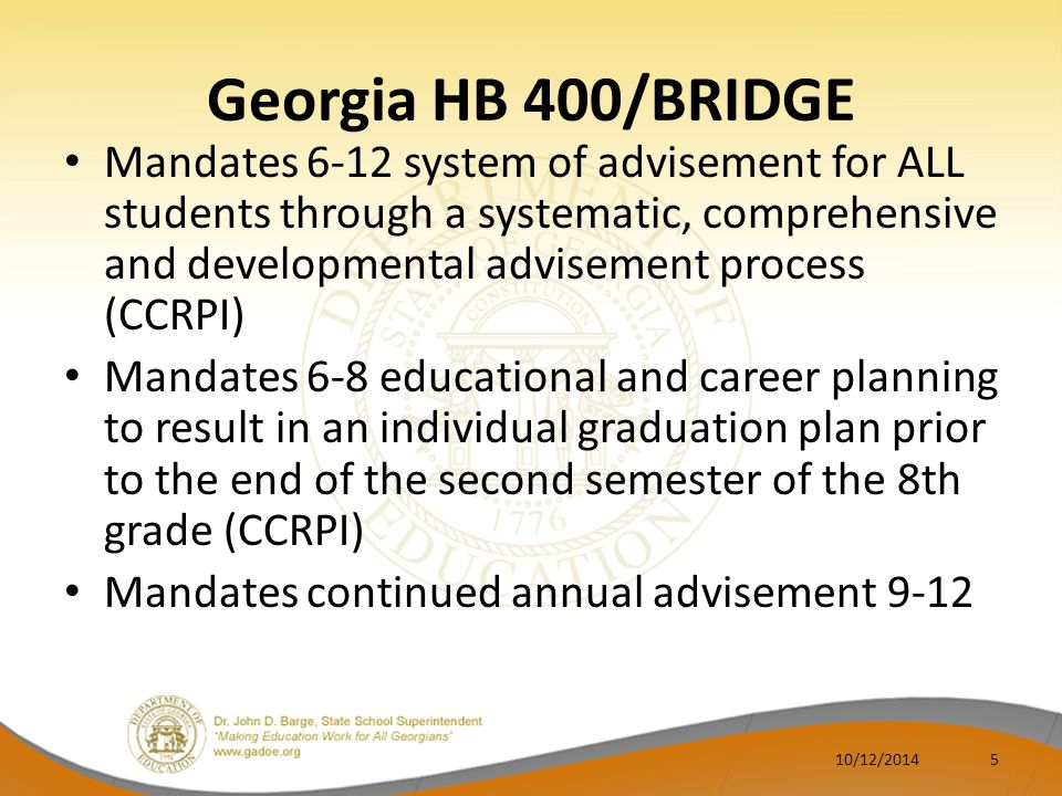 Georgia HB 186 House Bill 186 mandates that Georgia will align with the 16 Federal Career Cluster framework (CCRPI) Develop appropriate forms and counseling guidelines for dual credit coursework; inform 8- 11 grade students prior to April 1.