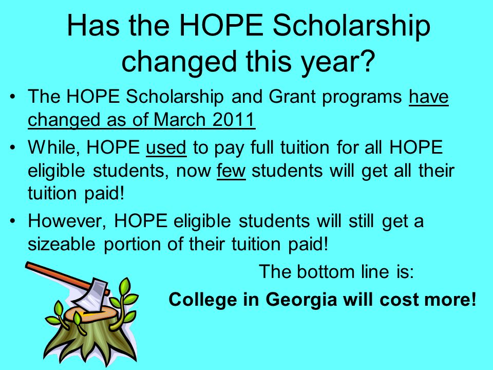 HOPE SCHOLARSHIP RIGOR REQUIREMENTS Graduating on or after: Number of Rigorous courses required May 1, 20152 May 1, 20163 May 1, 20174
