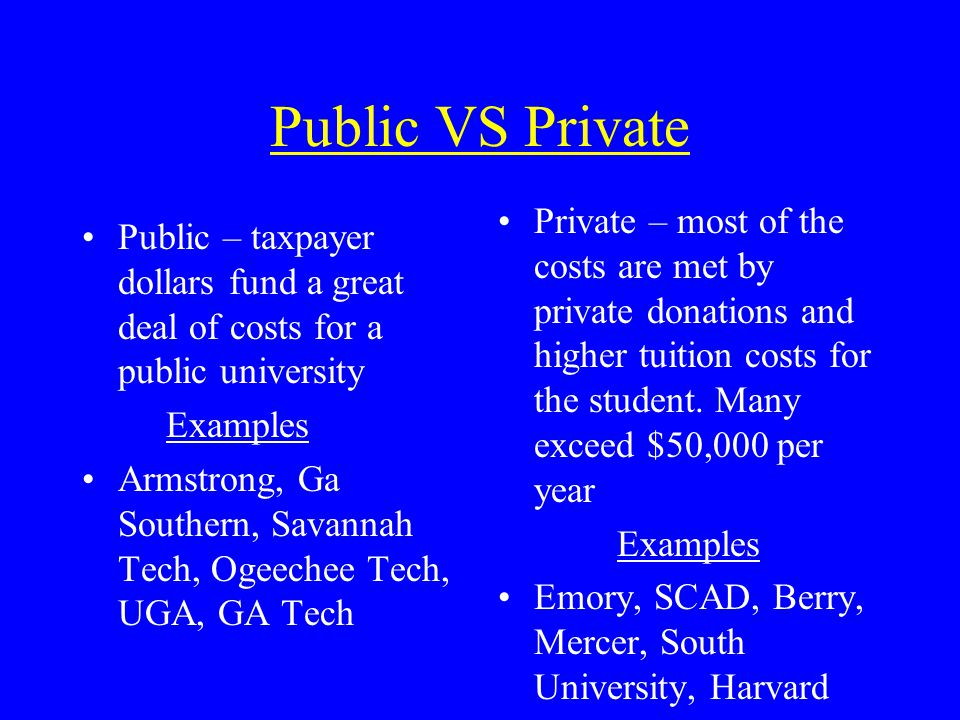 Public VS Private Public – taxpayer dollars fund a great deal of costs for a public university Examples Armstrong, Ga Southern, Savannah Tech, Ogeechee Tech, UGA, GA Tech Private – most of the costs are met by private donations and higher tuition costs for the student.