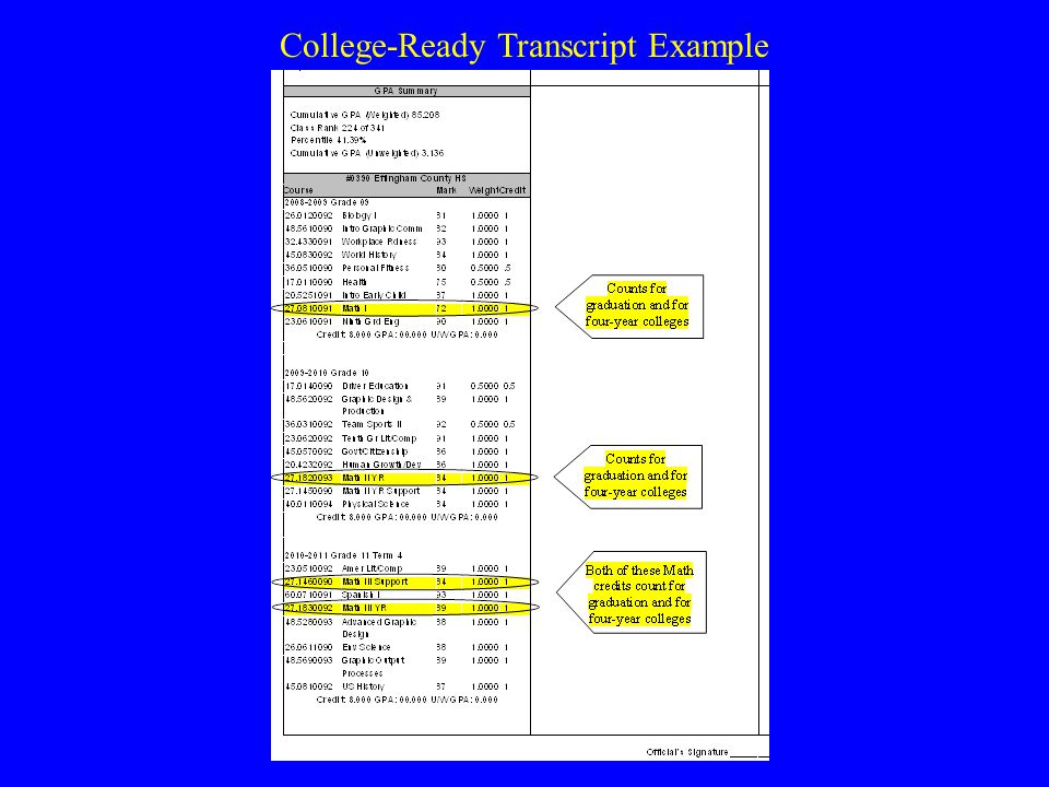 Not College-Ready Transcript Example