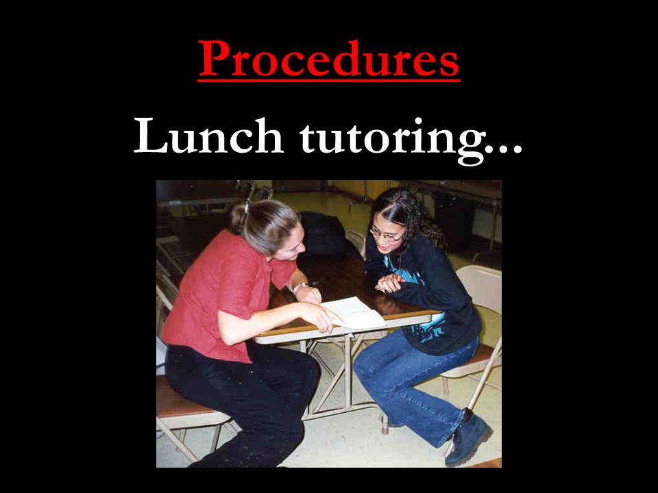 Procedures Lunch tutoring...