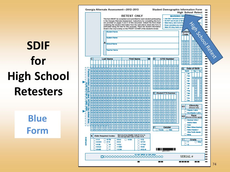 74 SDIF for High School Retesters High School Retest Blue Form