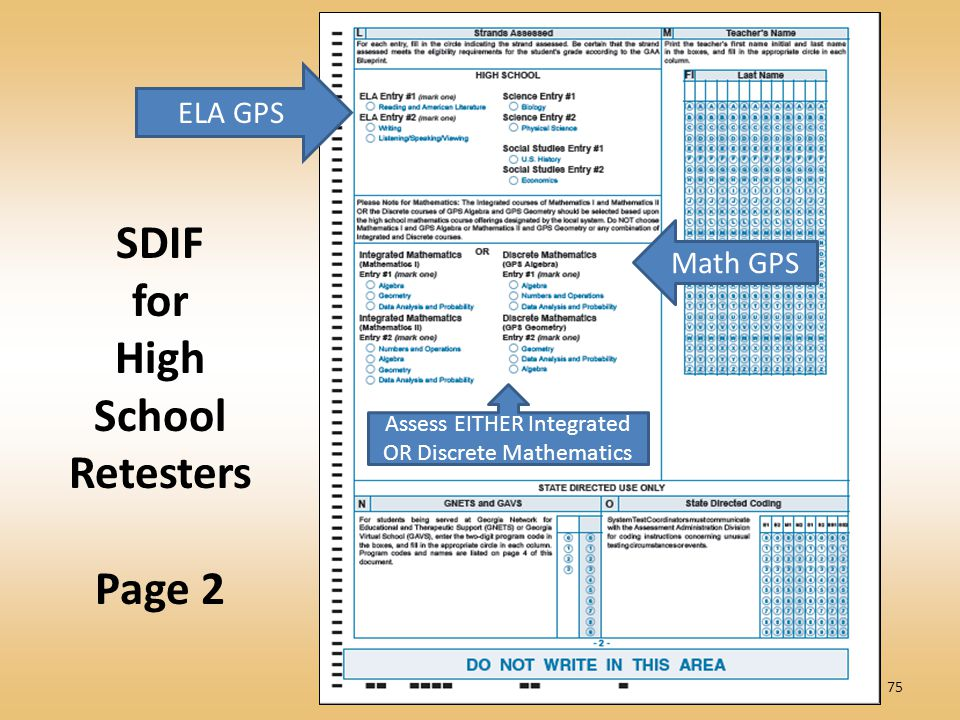 75 SDIF for High School Retesters Page 2 ELA GPS Math GPS Assess EITHER Integrated OR Discrete Mathematics